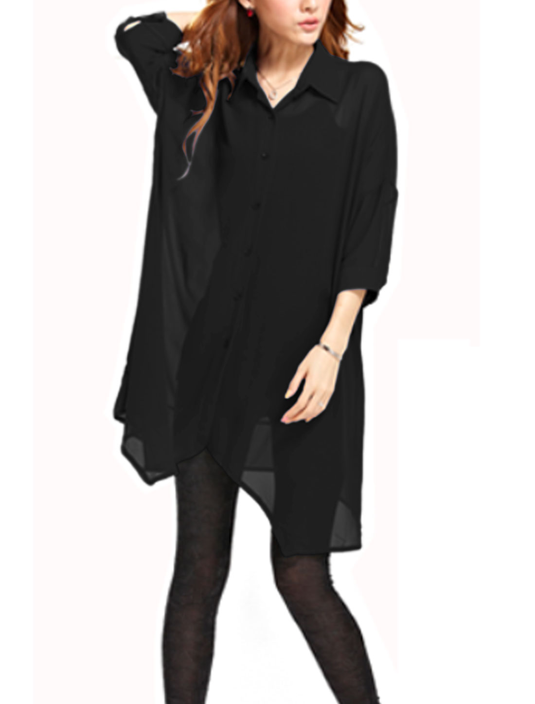 Lady Point Collar Single Breasted Casual Tunic Chiffon Shirt Black S