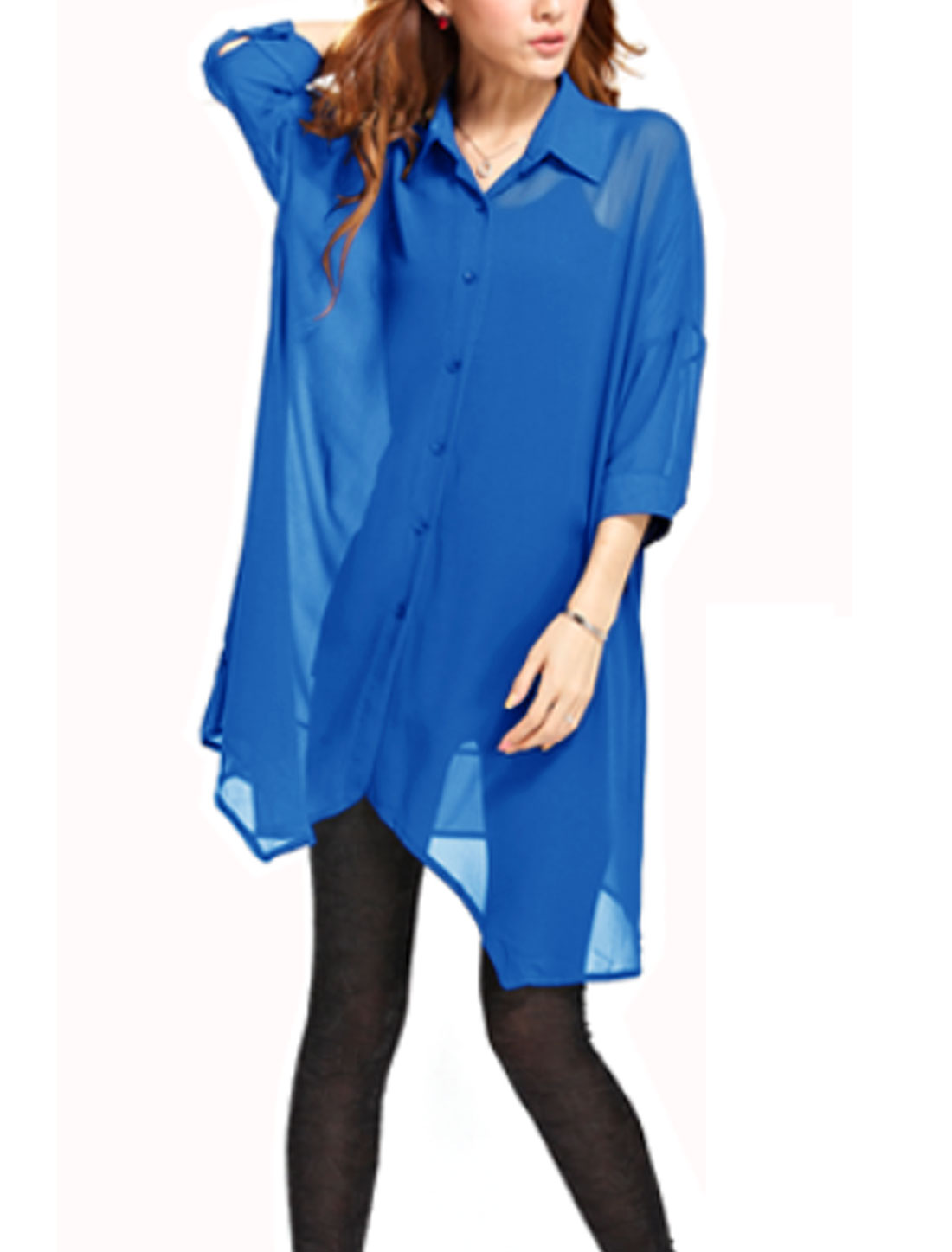 Cozy Fit Leisure Single Breasted Tunic Chiffon Shirt for Lady Royal Blue S