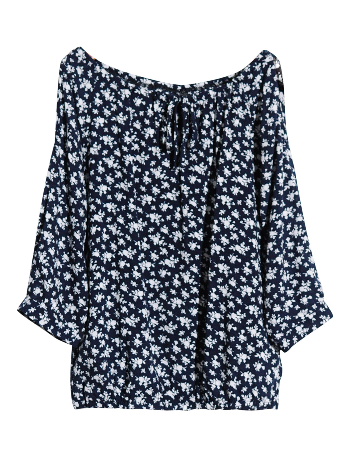 Cozy Fit Soft Floral Pattern Chiffon Top for Lady Navy Blue XS