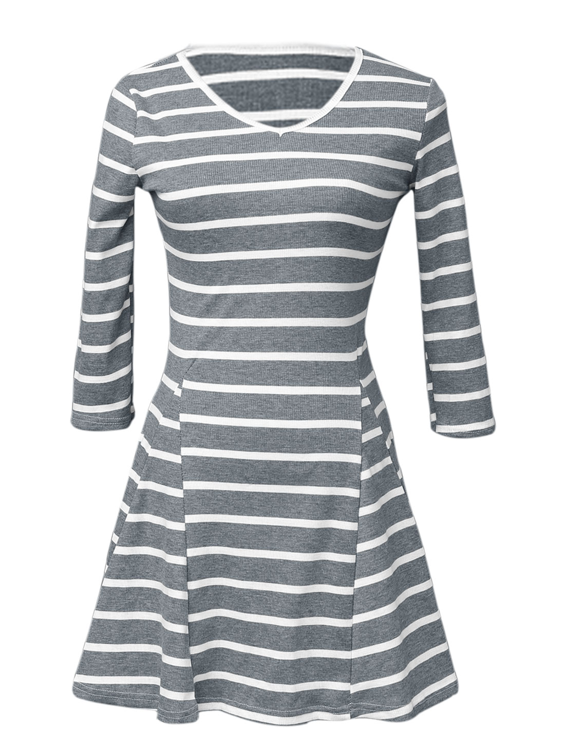Women V Neck 3/4 Sleeves Stripes Sweet Fit and Flare Knit Dress Light Gray XS