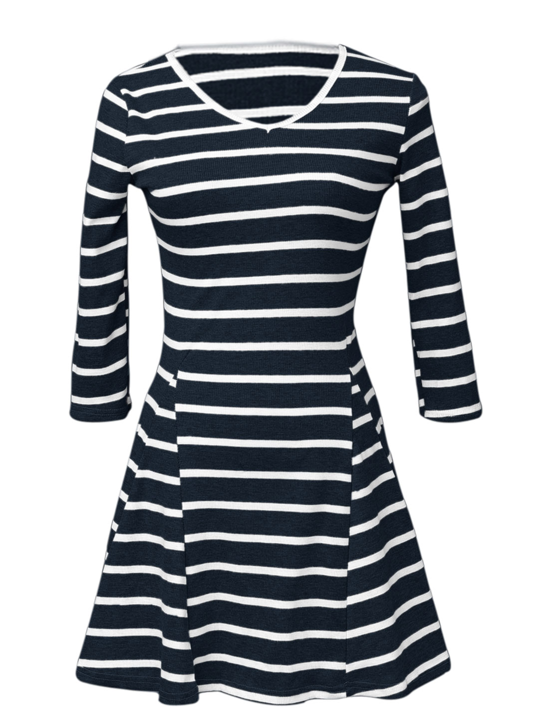 Women V Neck 3/4 Sleeves Stripes Newly Fit and Flare Knit Dress Navy Blue XS