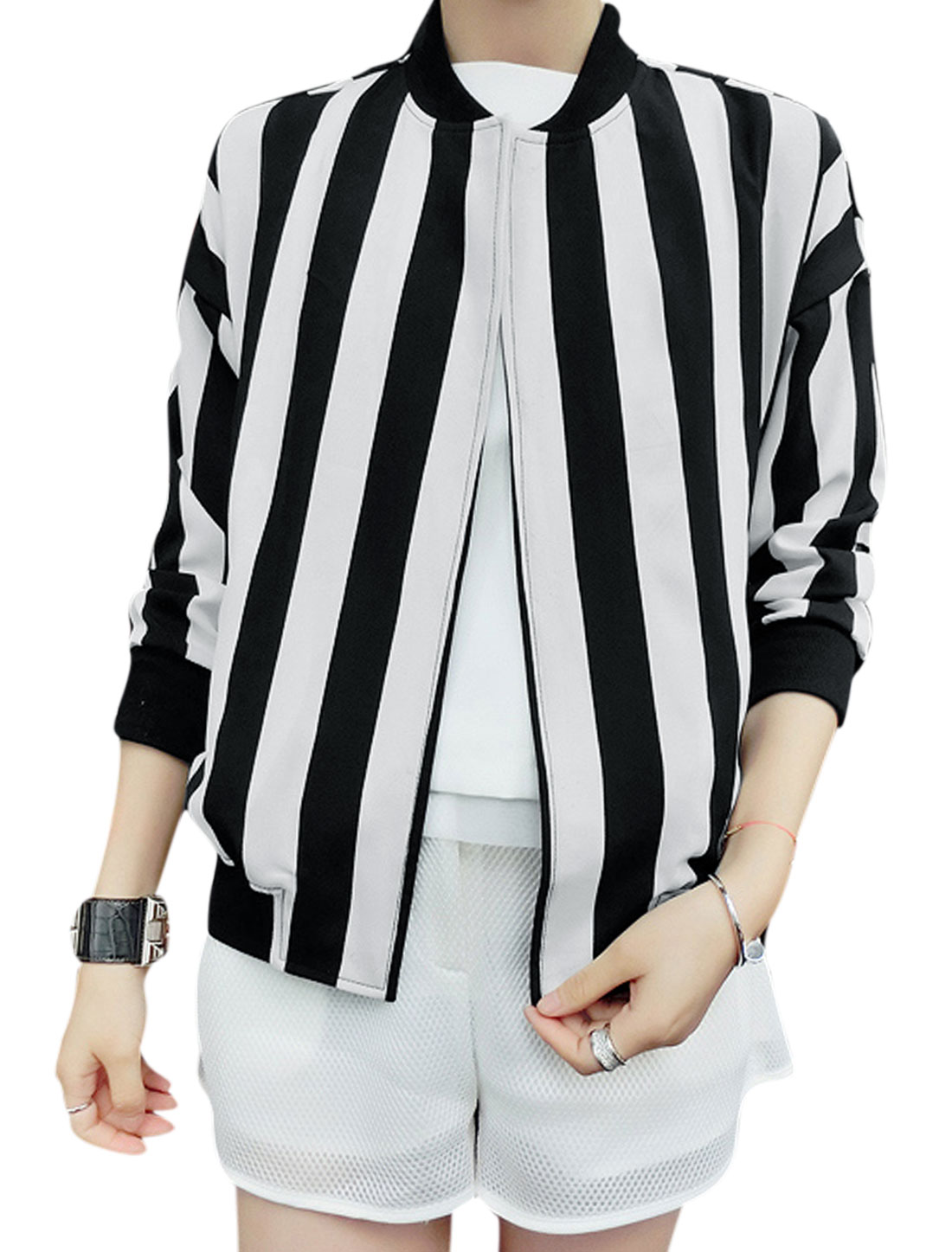 Lady Long Dolman Sleeves Ribbed Trim Fashion Vertical Striped Jacket Black White S