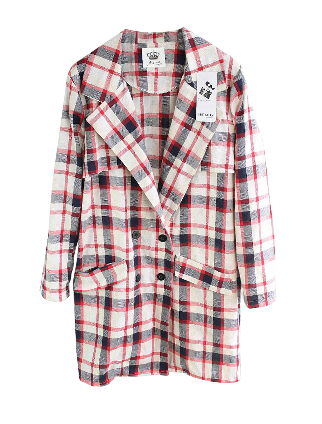 Lady Plaids Pattern Single Breasted Cape Style Long Jacket Multicolor M