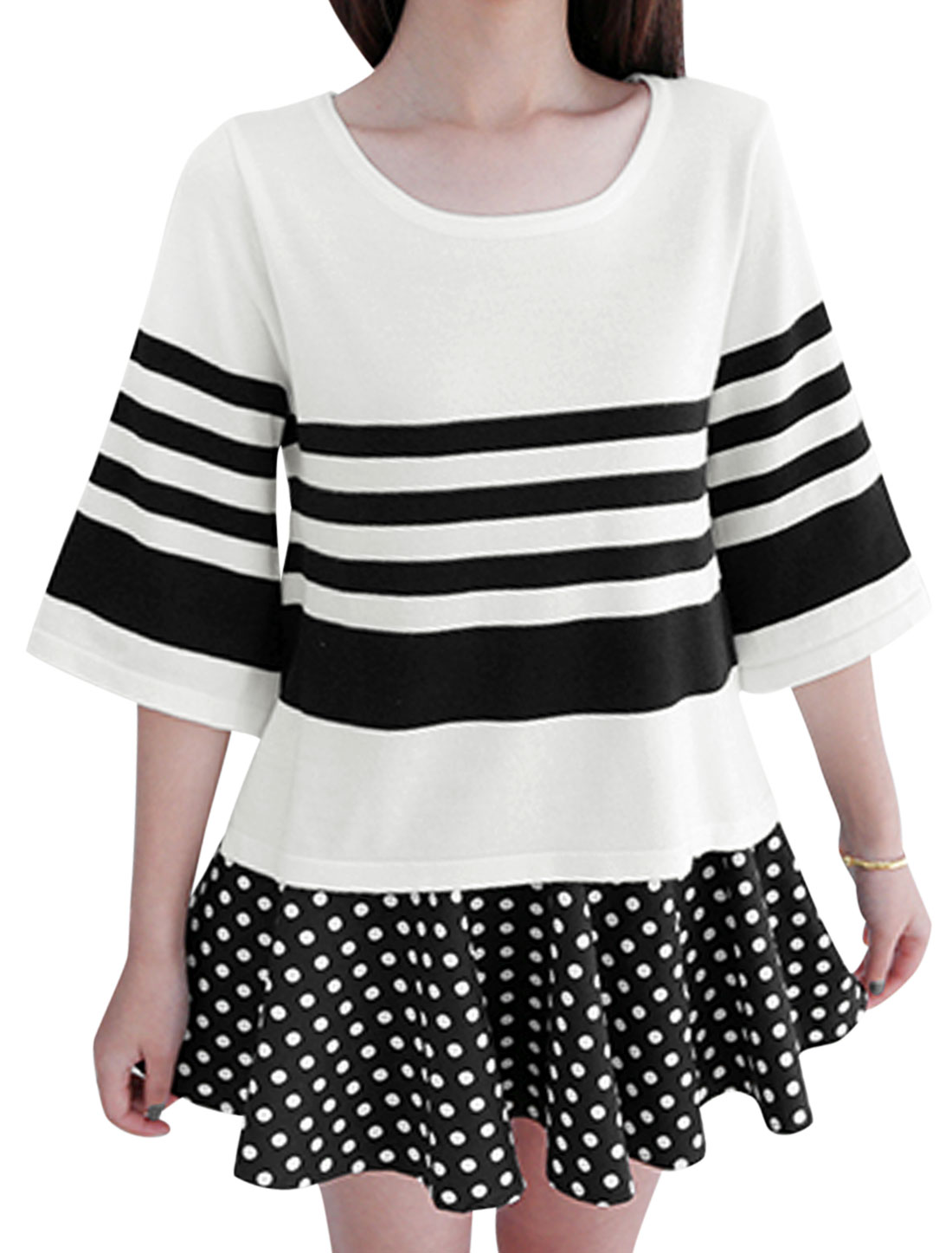 Lady Round Neck Streps Pattern Low Hight Hew Casual Knit Shirt White XS