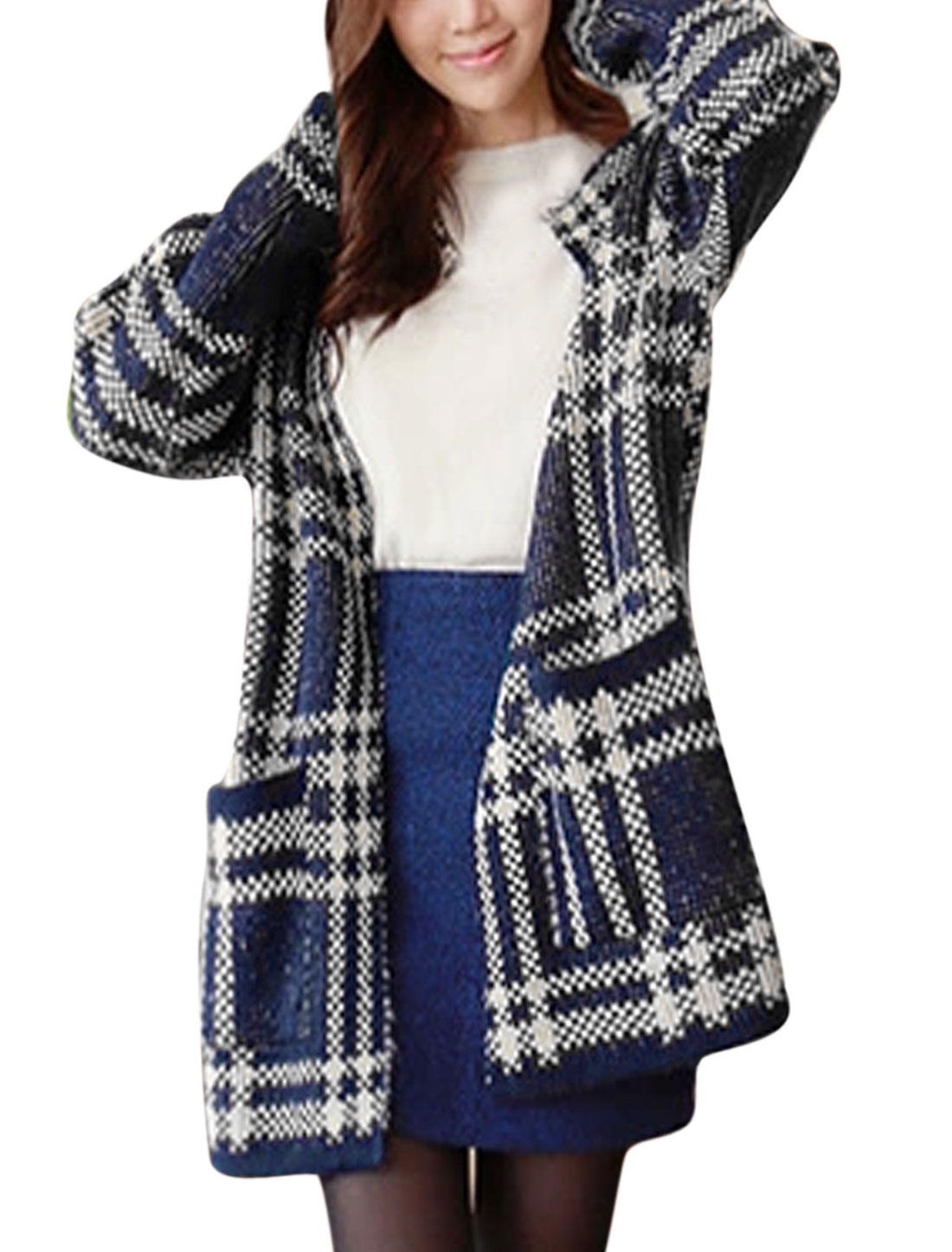 Lady Plaids Pattern Front Opening Casual Sweater Cardigan Navy Blue S
