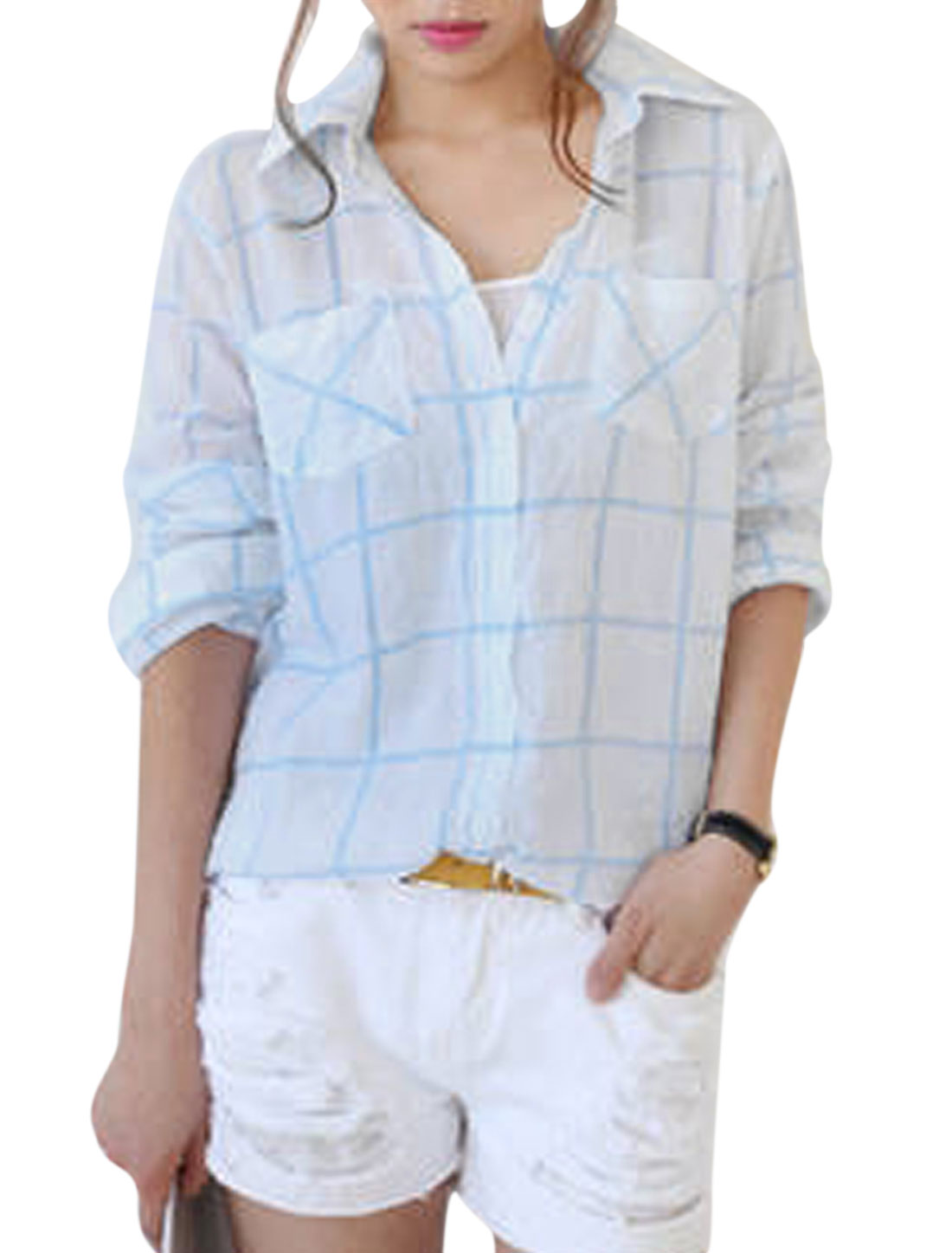 Lady Plaids Pattern Single Breasted Low-High Hem Semi Sheer Shirt White S