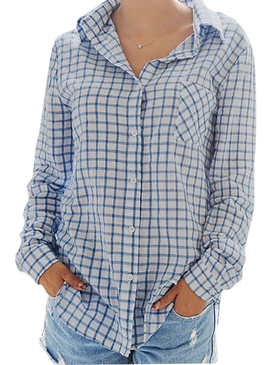 Lady Plaids Pattern Single Breasted Bust Pocket Casual Shirt Blue White XS