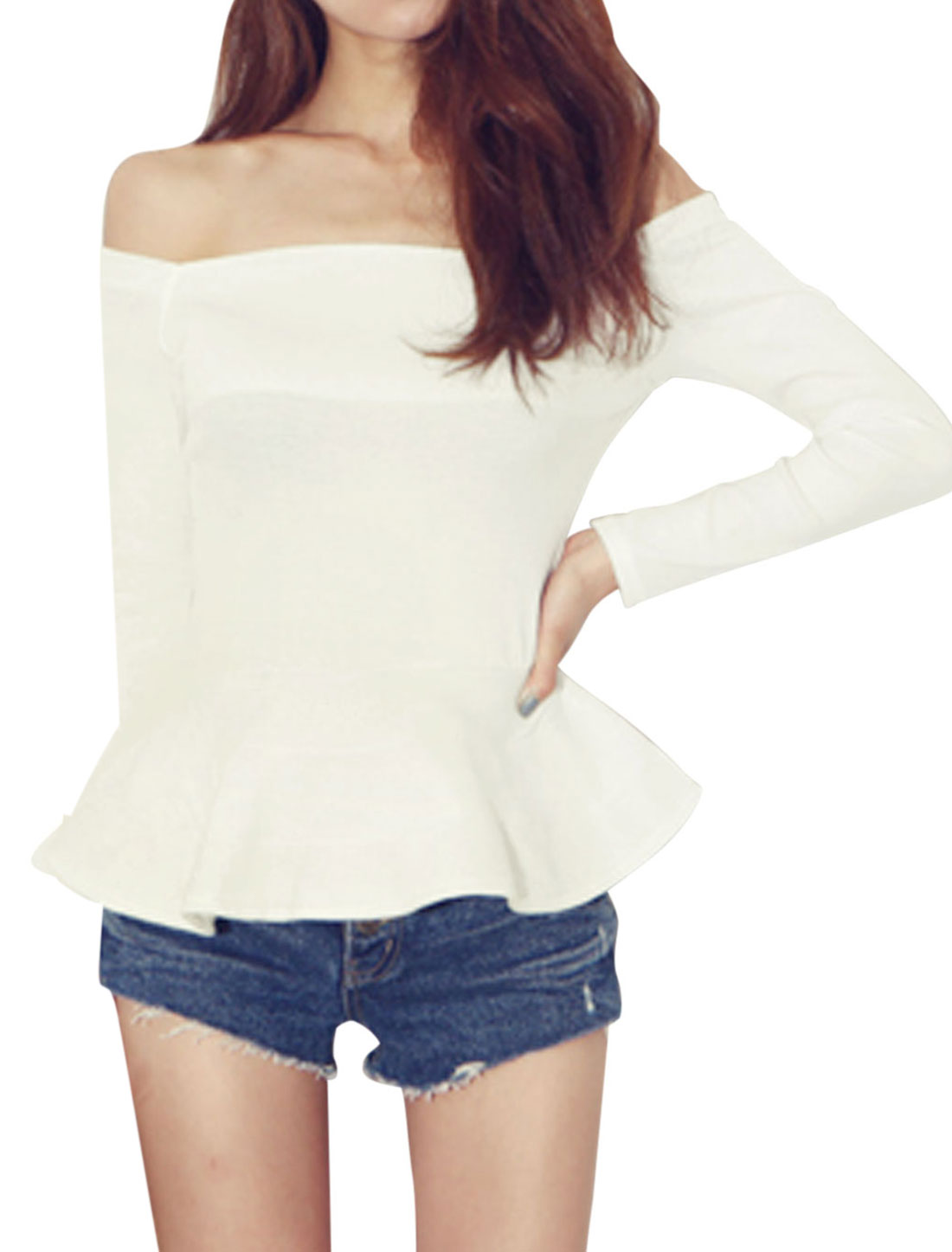 Lady Off Shoulder Slim Fit Peplum Top White XS