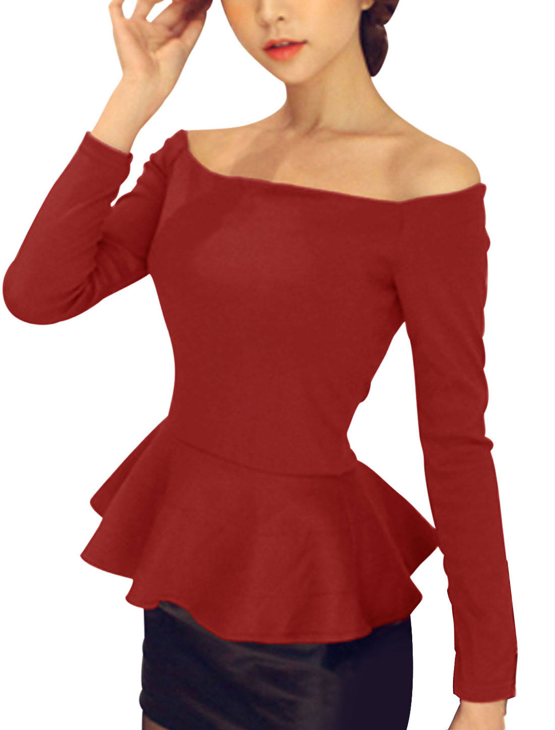 New Style Casual Off Shoulder Peplum Top for Lady Burgundy XS