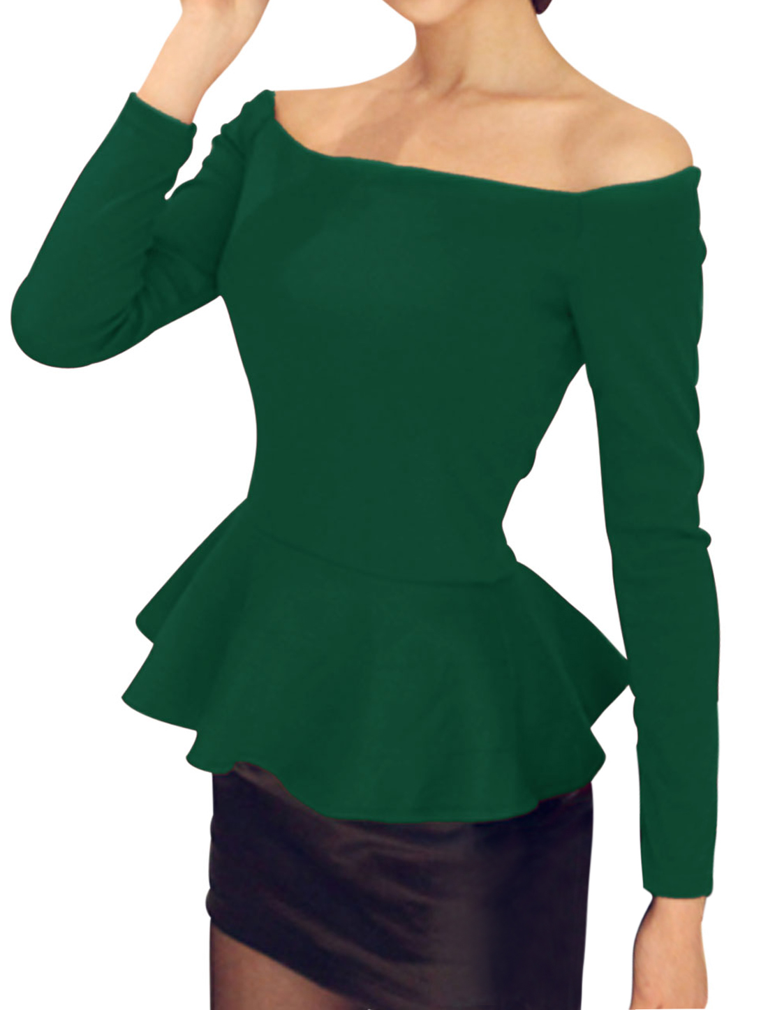 Slipover Slim Off Shoulder Peplum Top for Lady Dusty Green XS