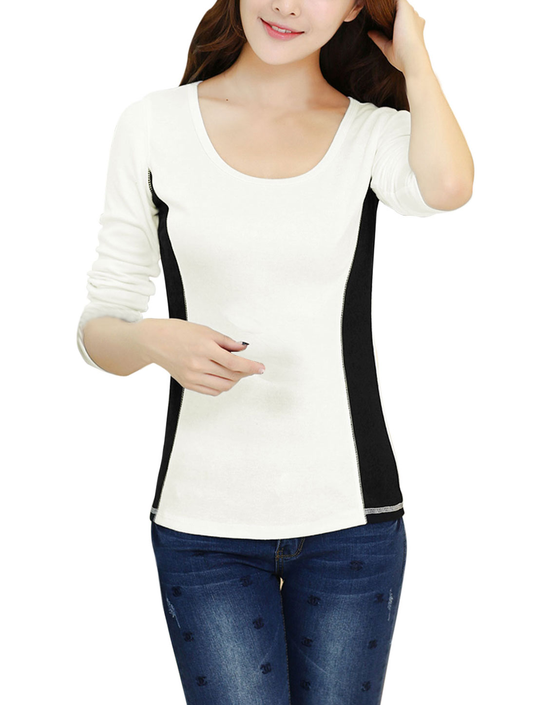 Lady Round Neck Color Block Stylish Soft Casual Top White M