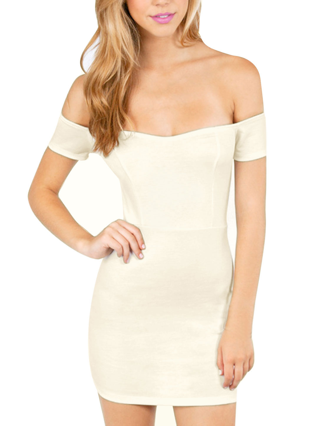 Women Off Shoulder Conceal Zipper Back Sexy Mini Stretch Dress White M