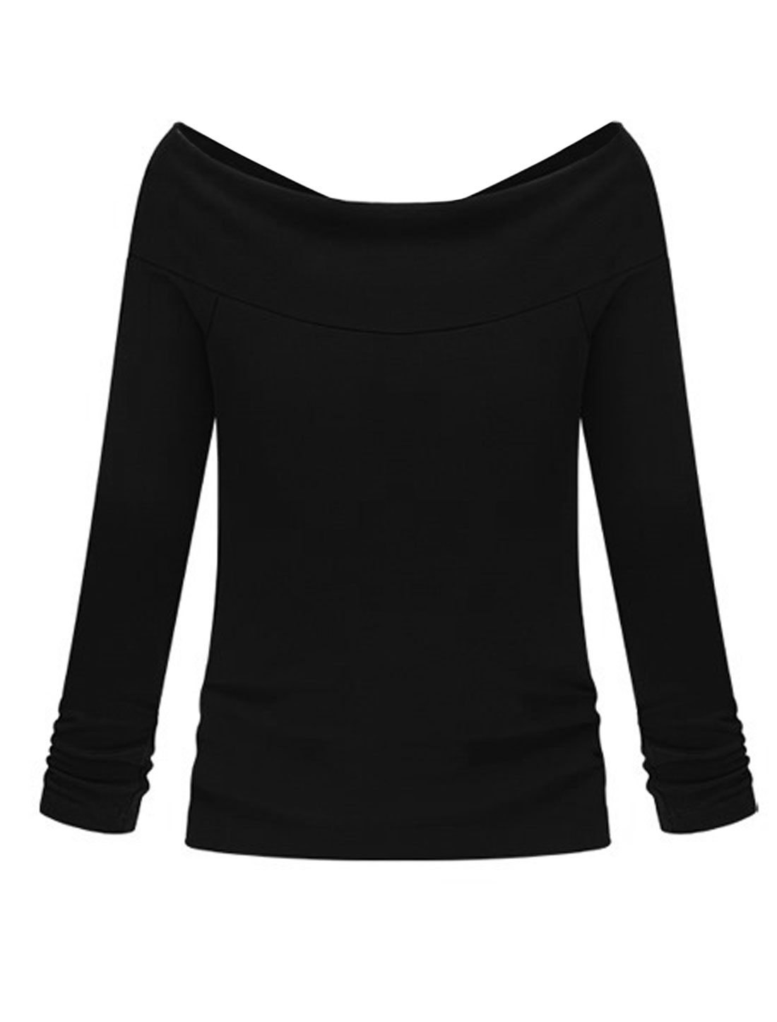 Lady Off Shoulder Long Sleeve Slim Fit Sexy T-shirt Black XS
