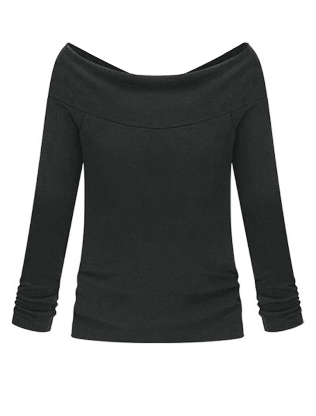 Lady Fashion Style Off Shoulder Stretch Tee Shirt Dark Gray XS