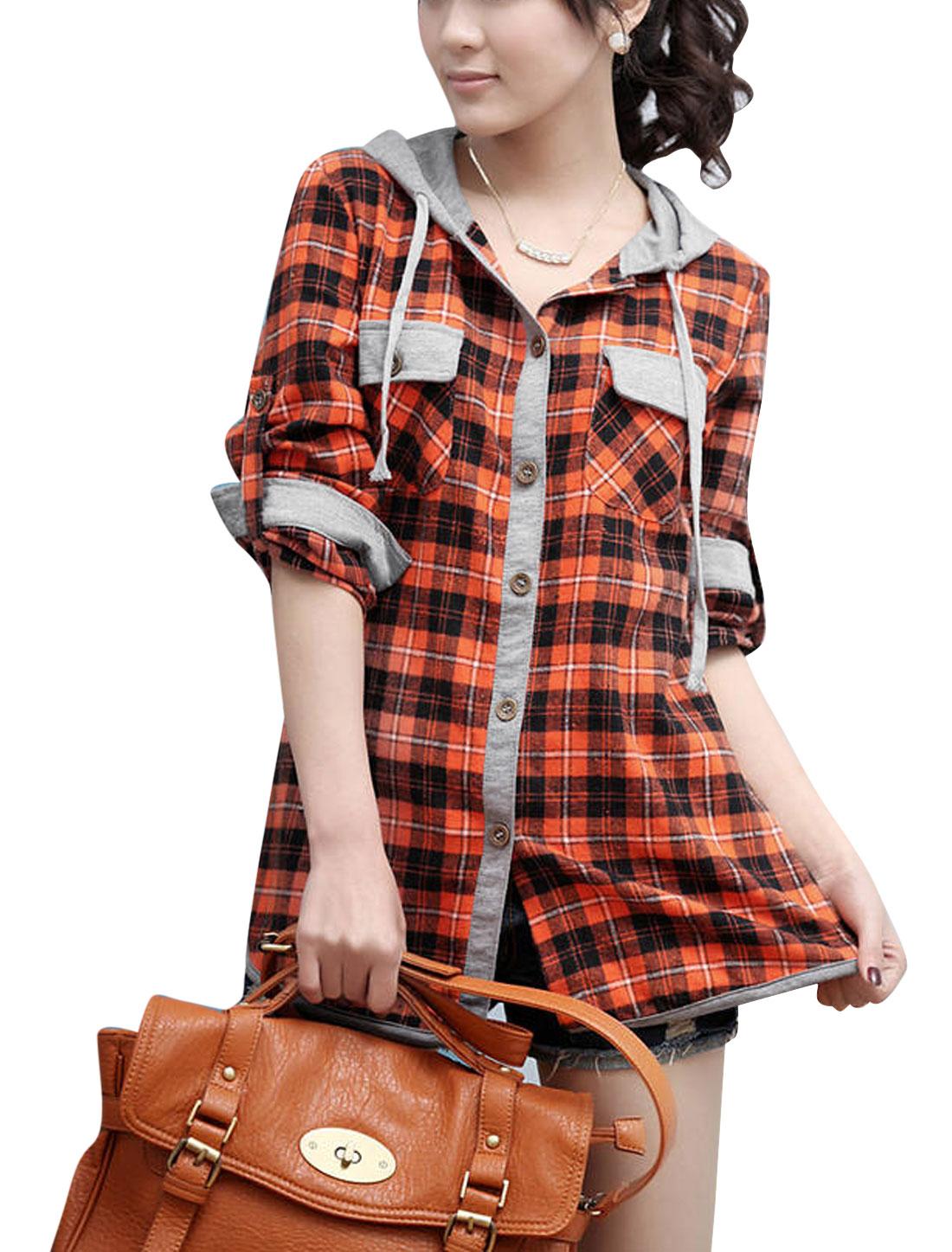 Lady Plaids Pattern Drawstring Hood Single Breasted Spliced Top Orange Black XS