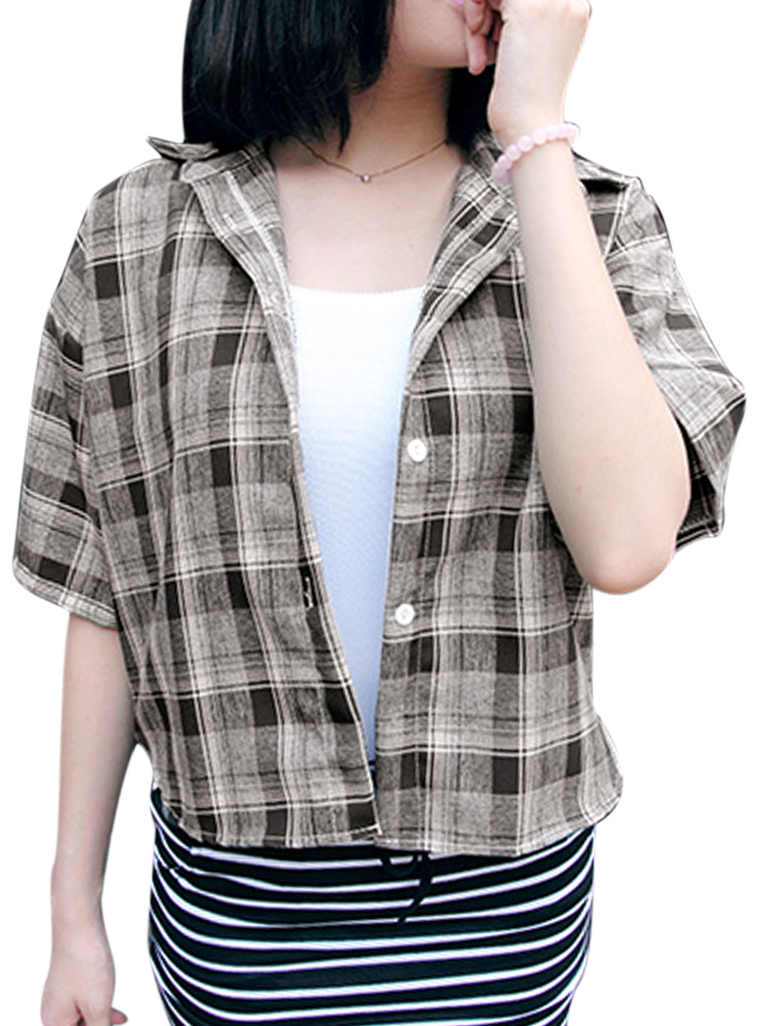 Lady Point Collar Plaids Pattern Single Breasted Casual Shirt Gray XS