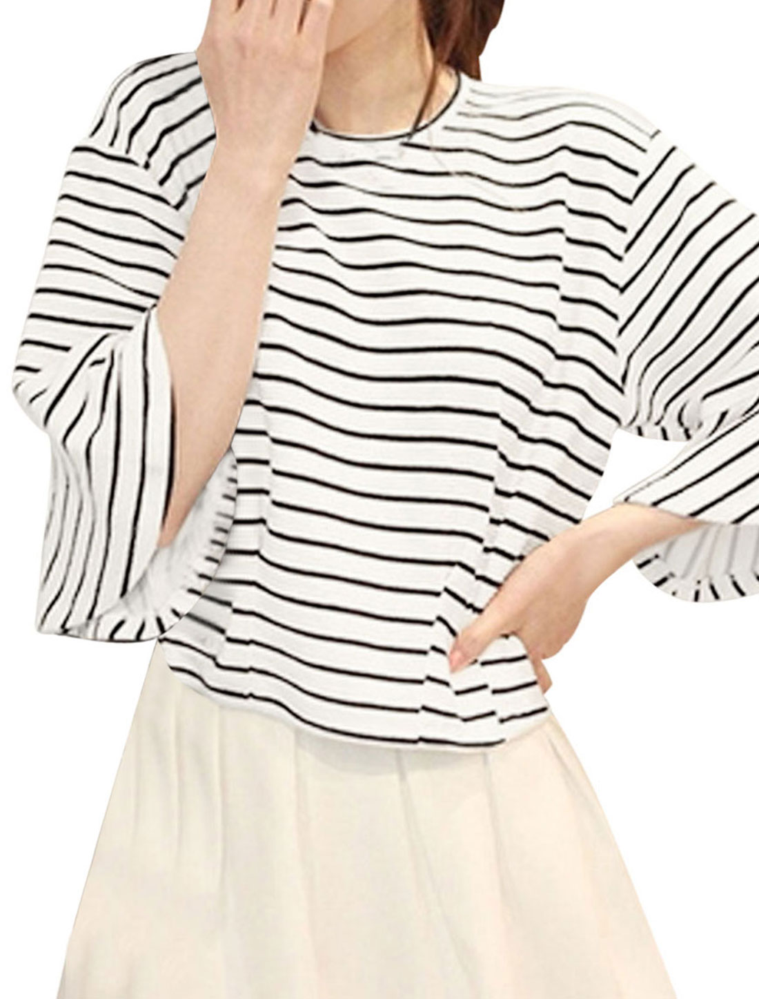 Women Round Neck Trumpet Sleeve Stripes Loose Casual Top White XS