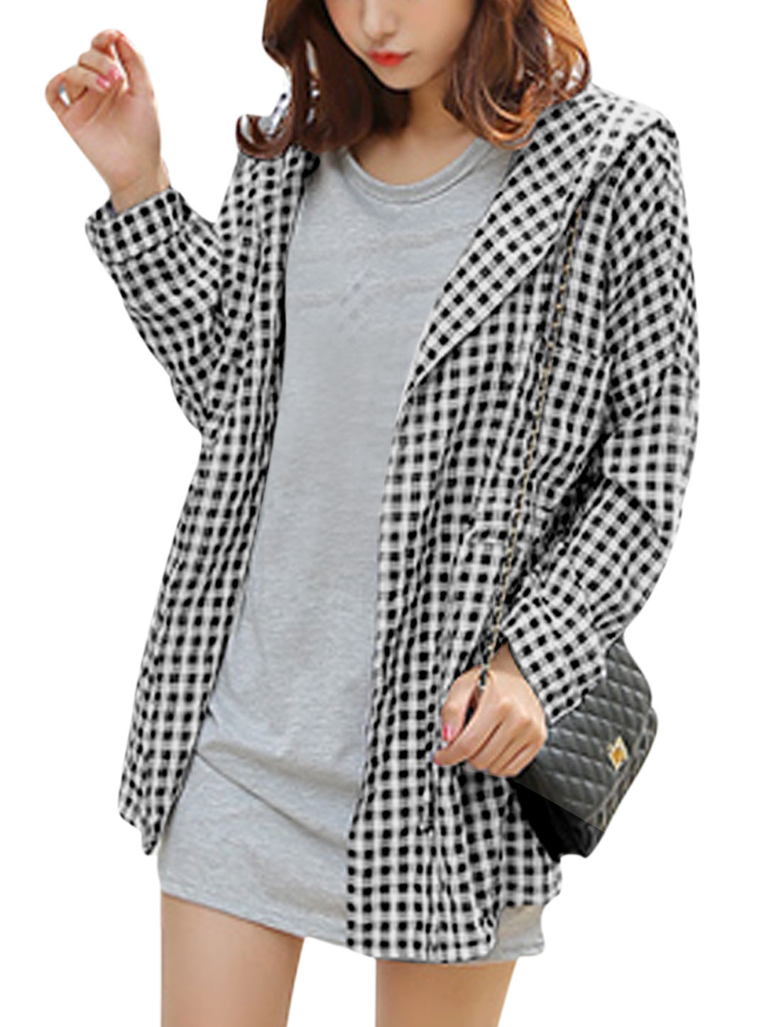 Women Plaids Pattern Drawstring Waist Hoodie Black White M