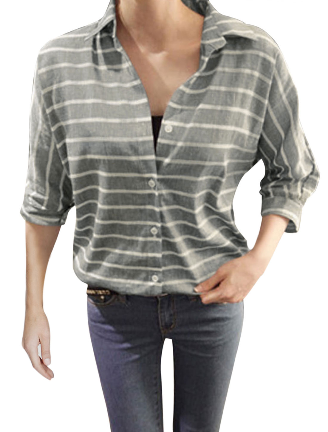 Lady Crochet Design Stripes Pattern Single Breasted Casual Shirt Light Gray M