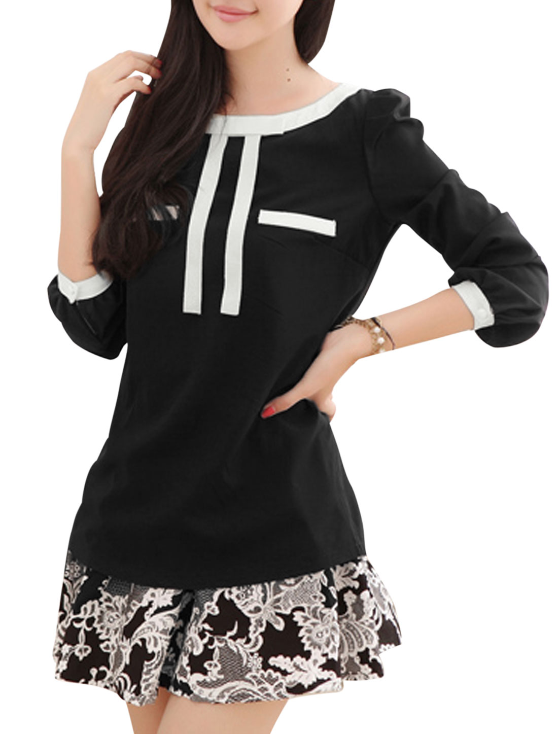 Lady Round Neck Bow Decor Front Cozy Fit Casual Shirt Black S