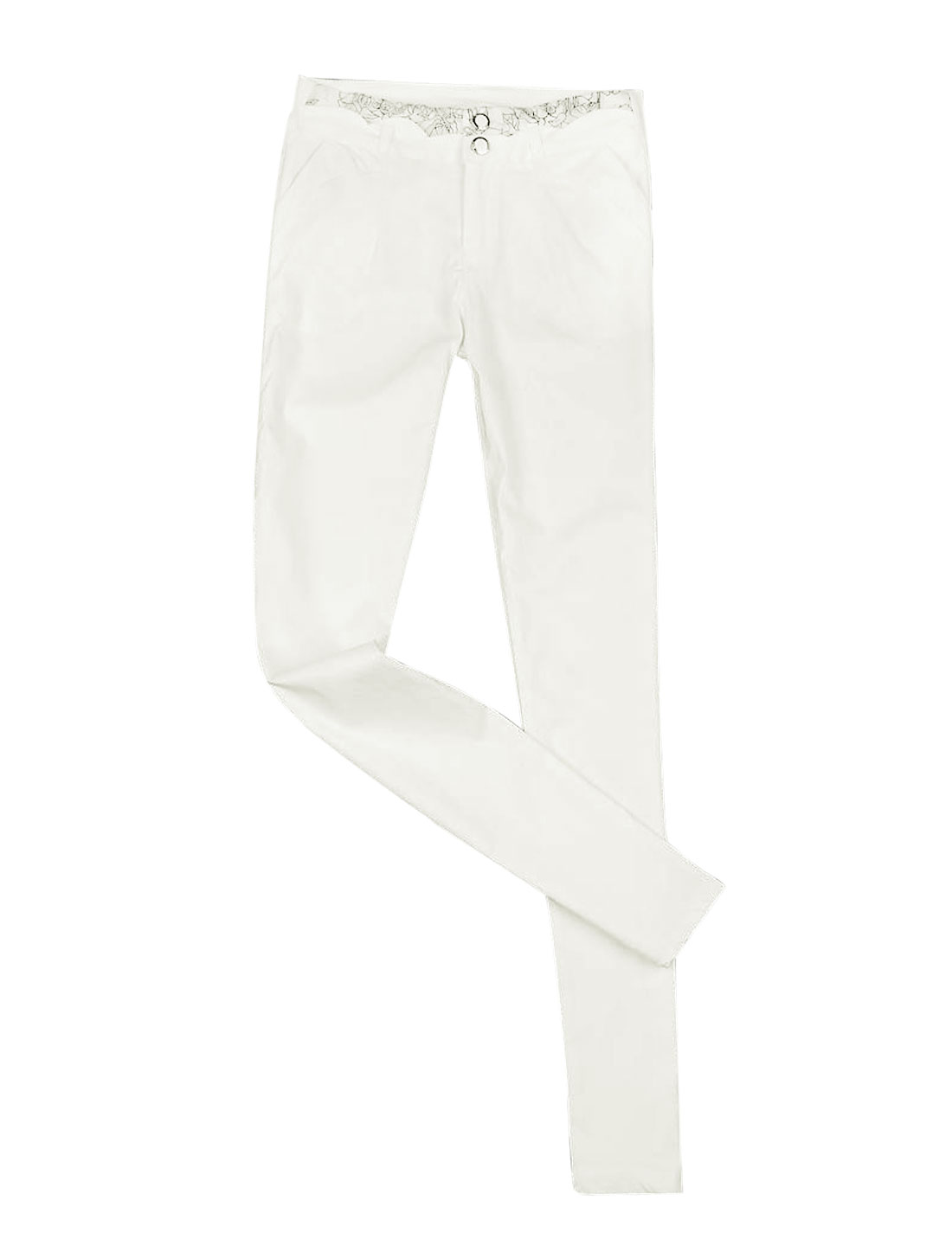 Women Belt Loop Zip Fly Tapered Slim Pencil Trousers White XS