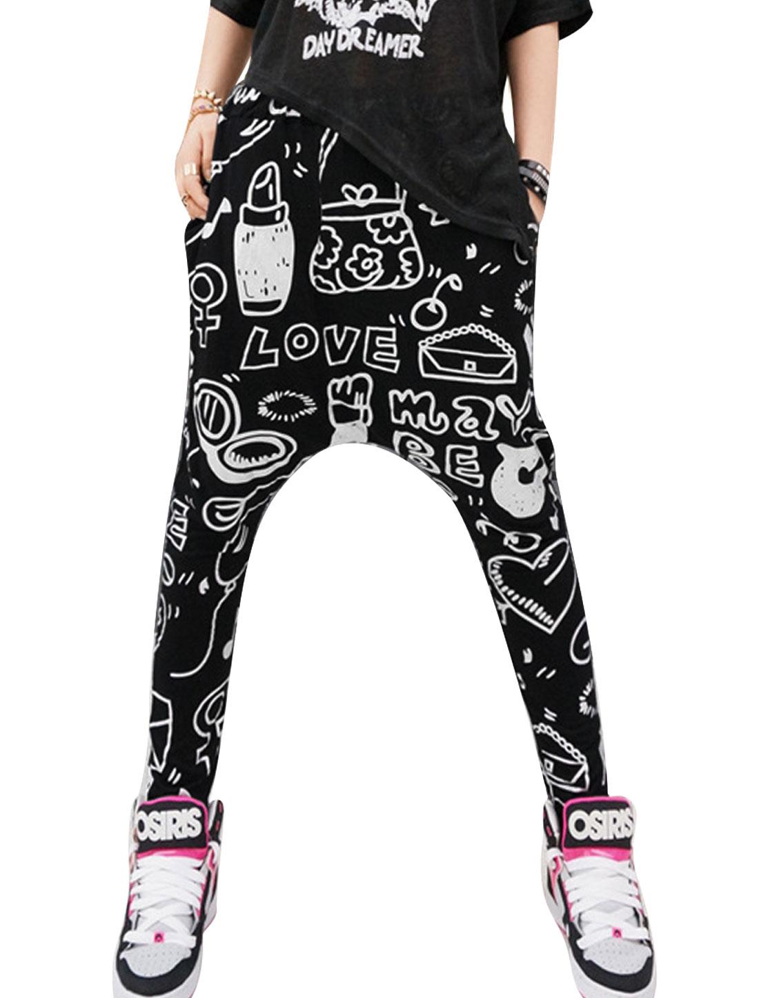 Lady Elastic Waist Novelty Prints Cozy Fit Harem Pants Sliver Black XS