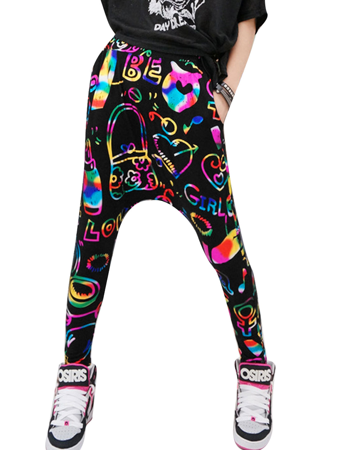 Lady Novelty Prints Stylish Leisure Harem Pants Fuchsia Black XS