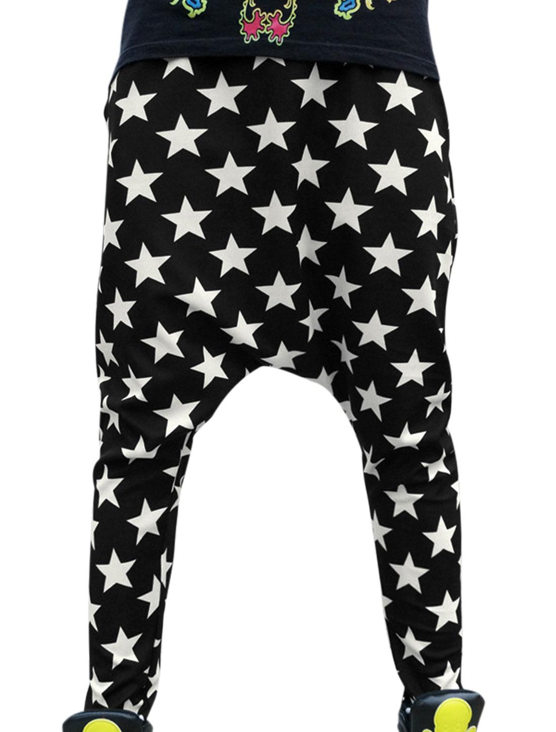 Women Two Slant Pockets Stars Pattern Fashionable Harem Pants Black S