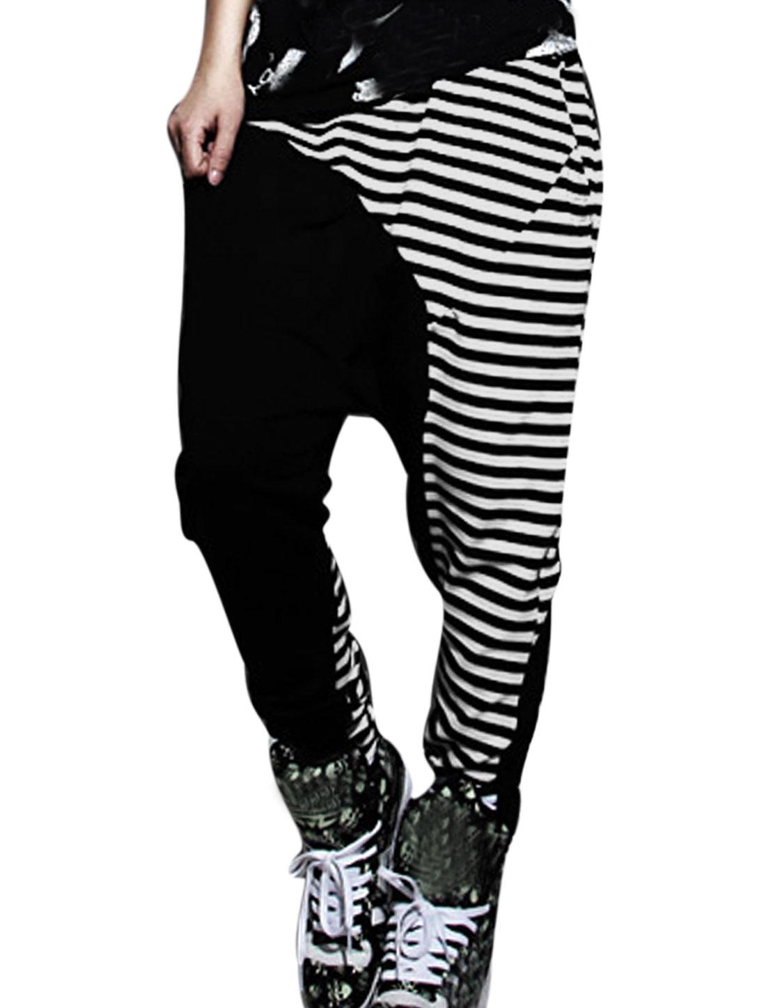 Lady Elastic Waist Stripes Pattern Color Block Casual Harem Pants Black White XS