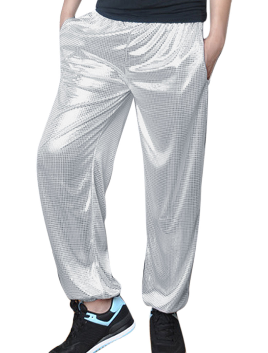 Lady Elastic Drawstring Waist Seam Pocket Front Casual Sequined Pants Silver Tone S