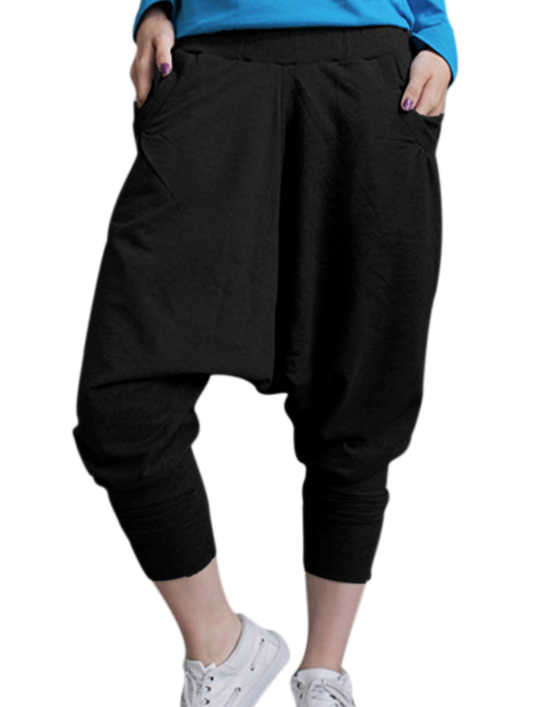 Lady Elastic Waist Slant w Hip Pockets Loose Crotch Harem Pants Black M