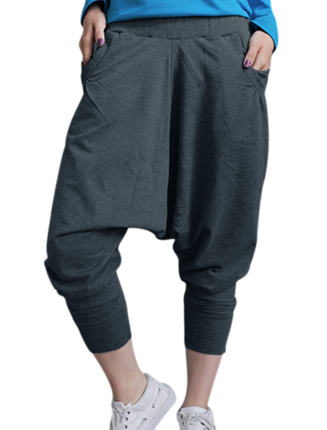 Lady Hip-Hop Style Loose Crotch Leisure Harem Trousers Ebony M