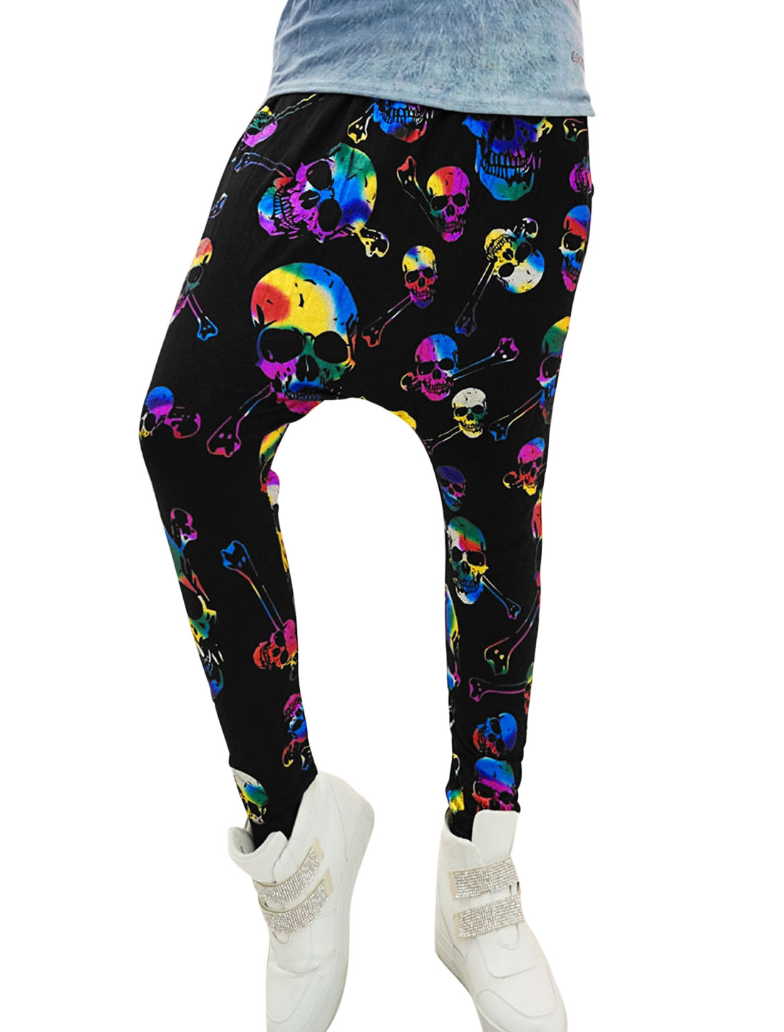 Lady Skull Prints Double Slant Pocket Front Casual Harem Pants Fuchsia Black XS