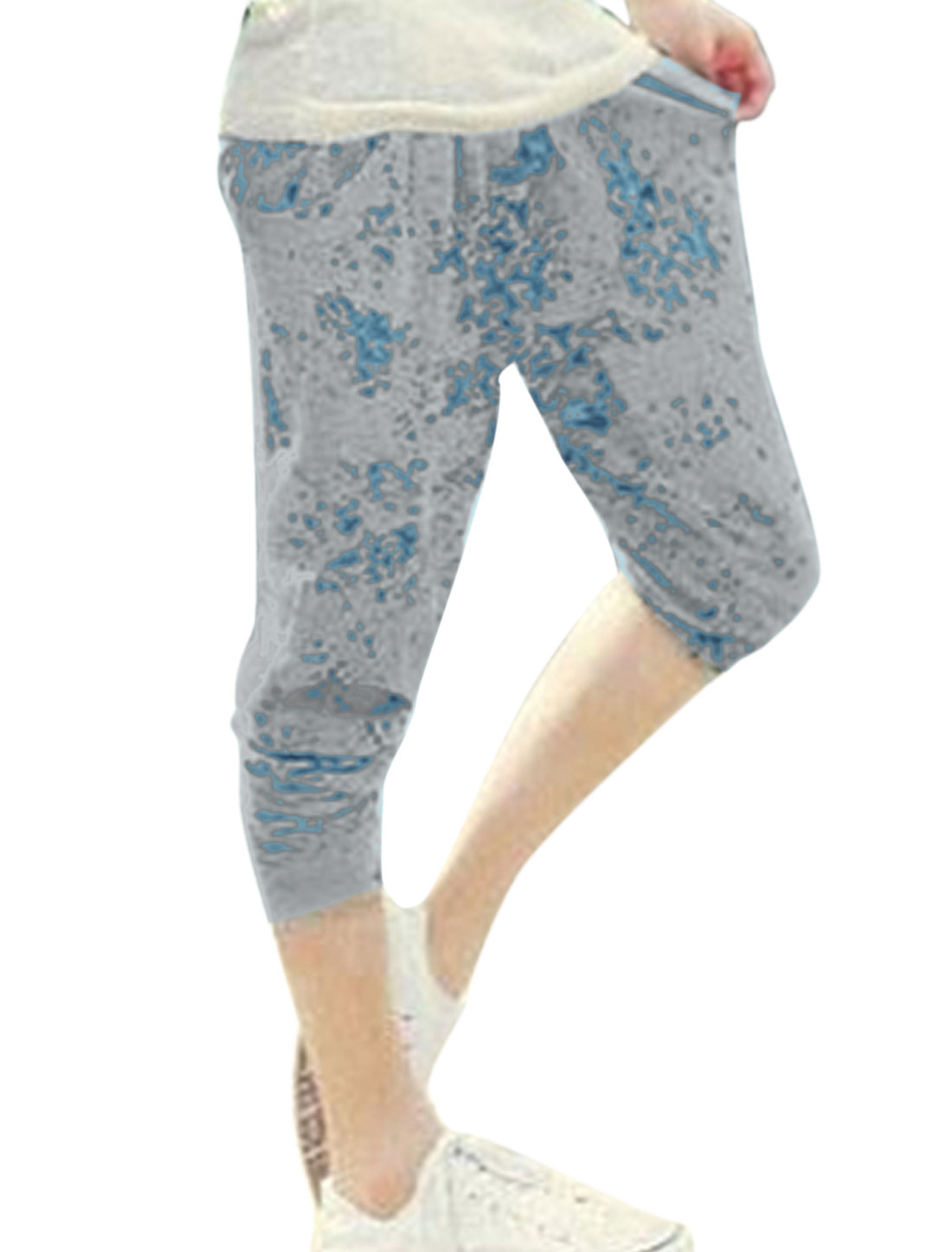 Lady Drawstring Waist Cozy Fit Herem Pants Light Gray Light Blue XS