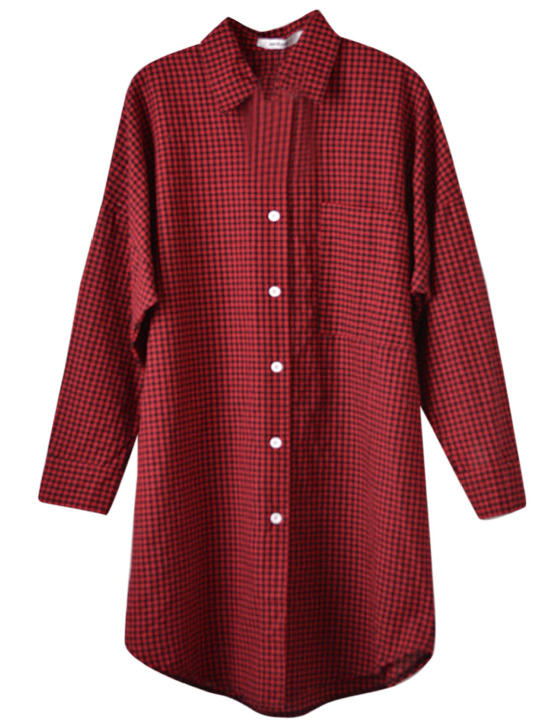 Lady Point Collar Button Closure Front Checks Pattern Tunic Top Red S