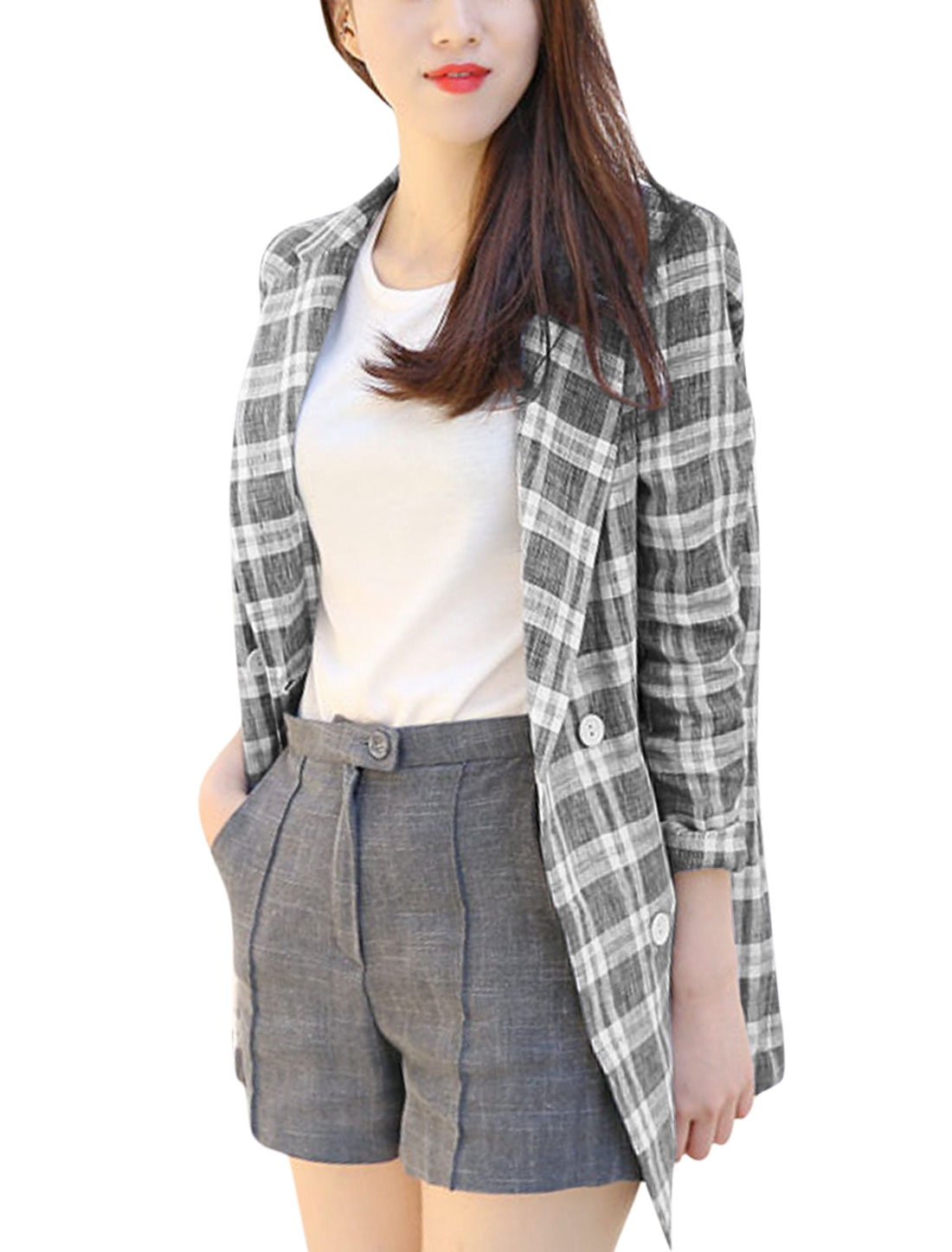 Women Plaids Pattern Single Breasted Pockets Long Jacket Black White XS