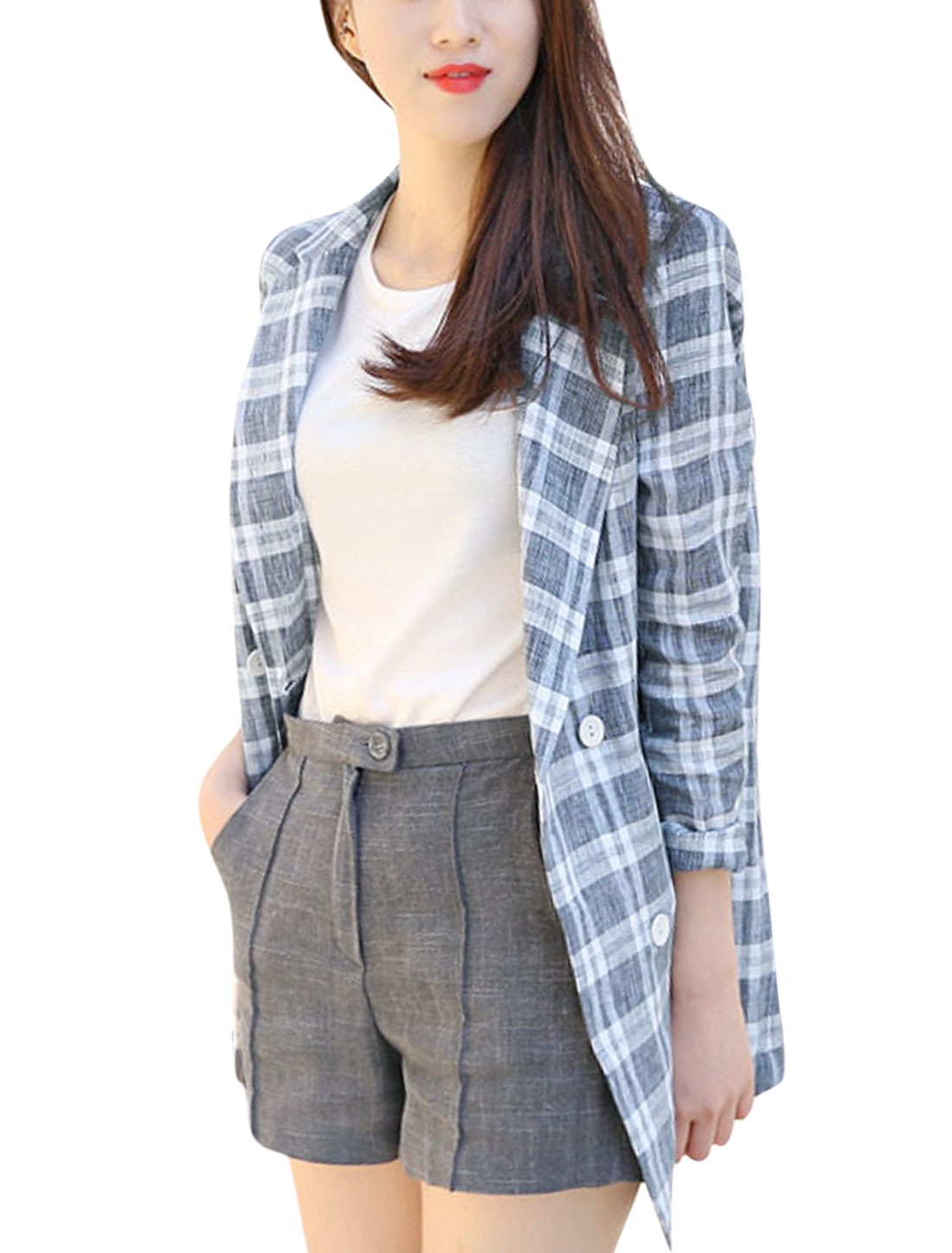 Lady Button Closure Front Checks Pattern Long Jacket Navy Blue White XS