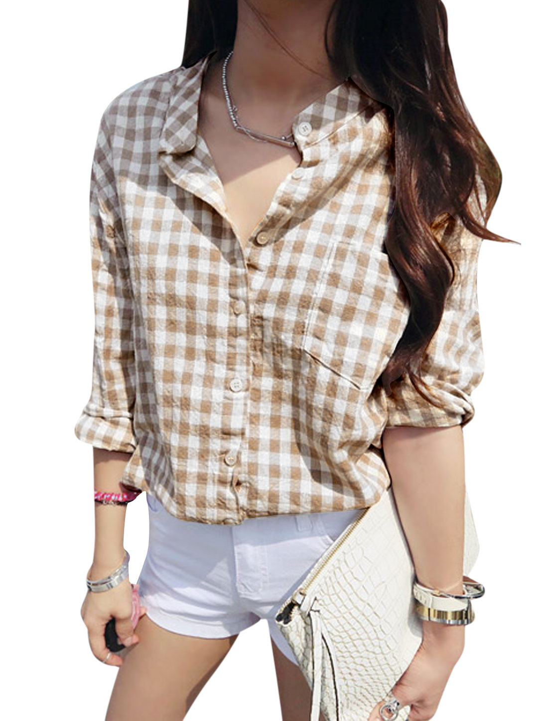 Women Plaids Pattern Single Breasted Bust Pocket Round Hem Shirt Camel White S
