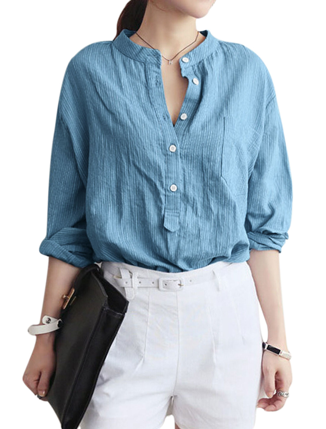 Lady Long Sleeve Half Placket Stripes Pattern Casual Shirt Baby Blue S