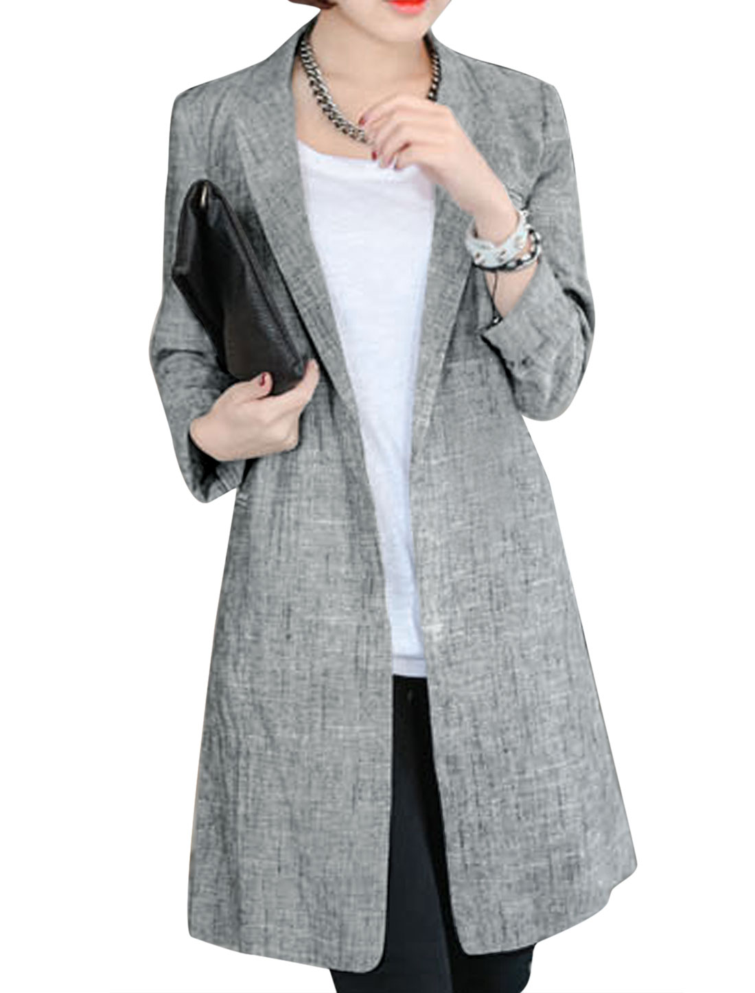 Lady Notched Lapel Front Opening Casual Trench Coat Light Gray S