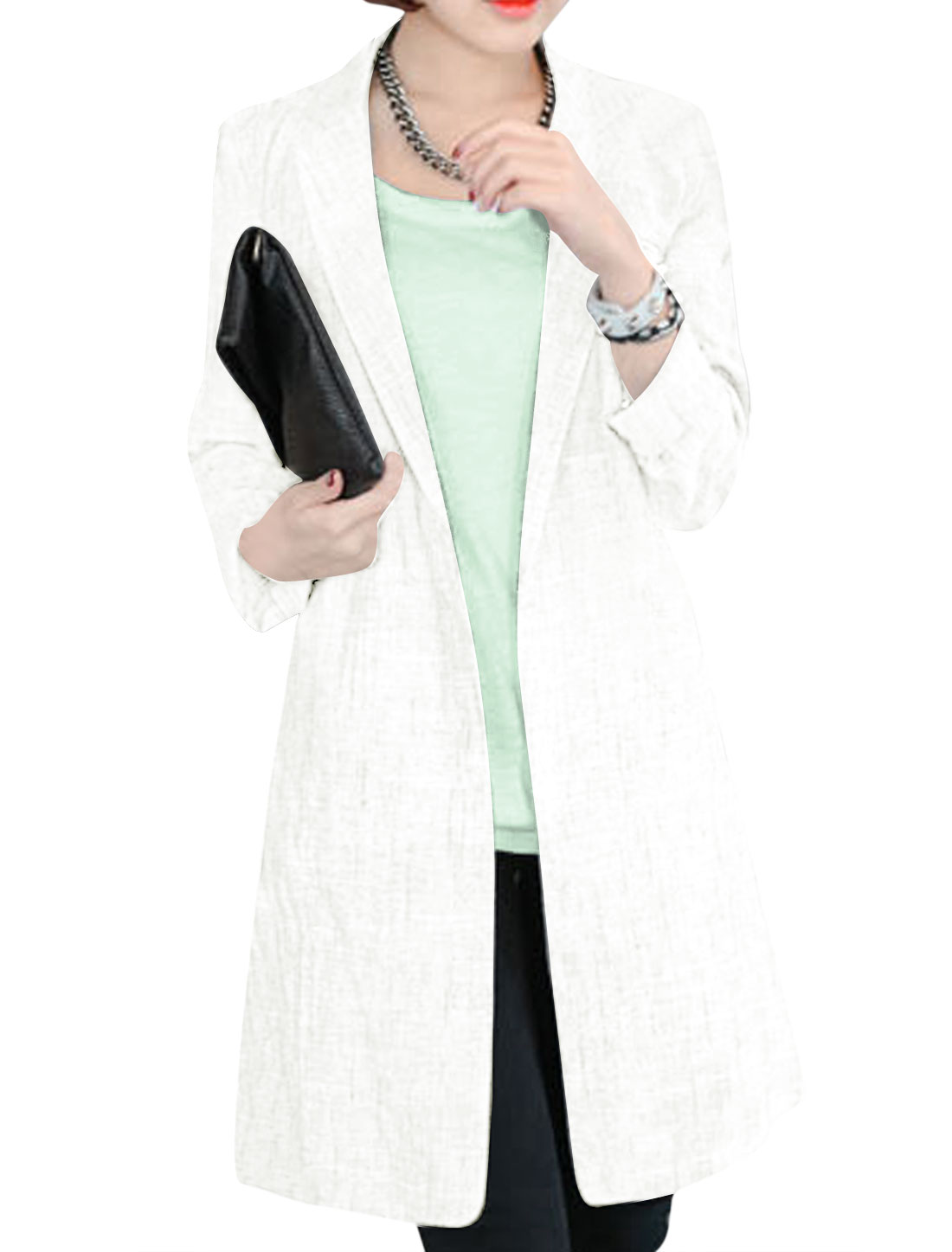 Lady Front Opening Double Vertical Pockets Stylish Trench Coat White S