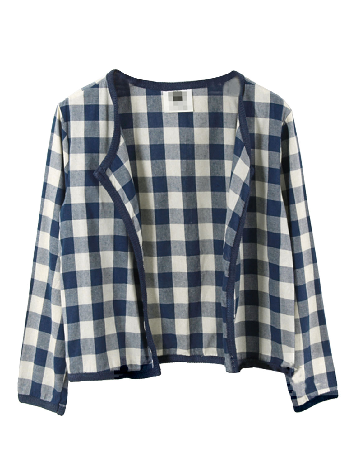 Lady Plaids Pattern Front Opening Casual Cardigan White Blue S
