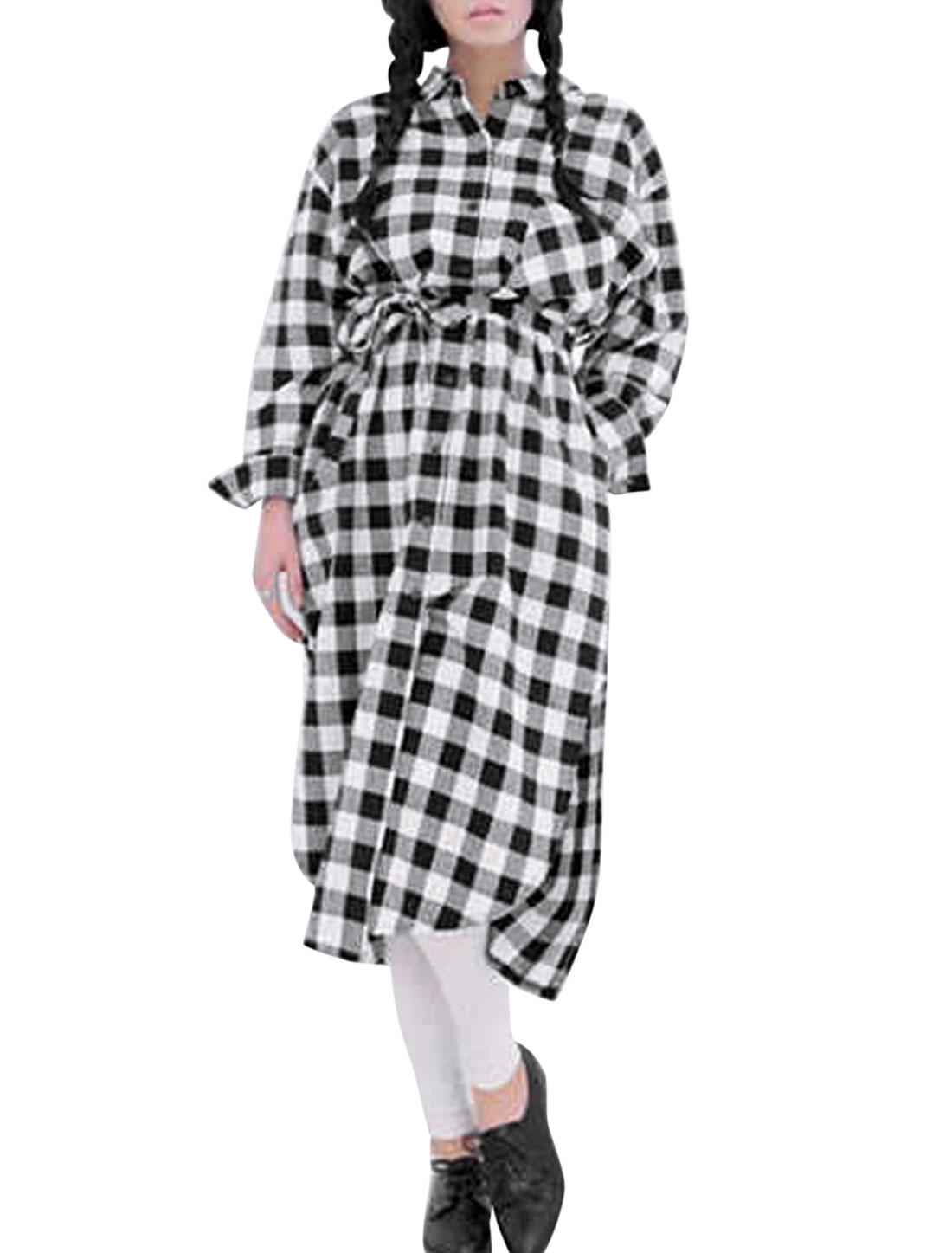 Lady Point Collar Plaids Pattern Single Breasted Casual Shirt Dress w Belt White Black S