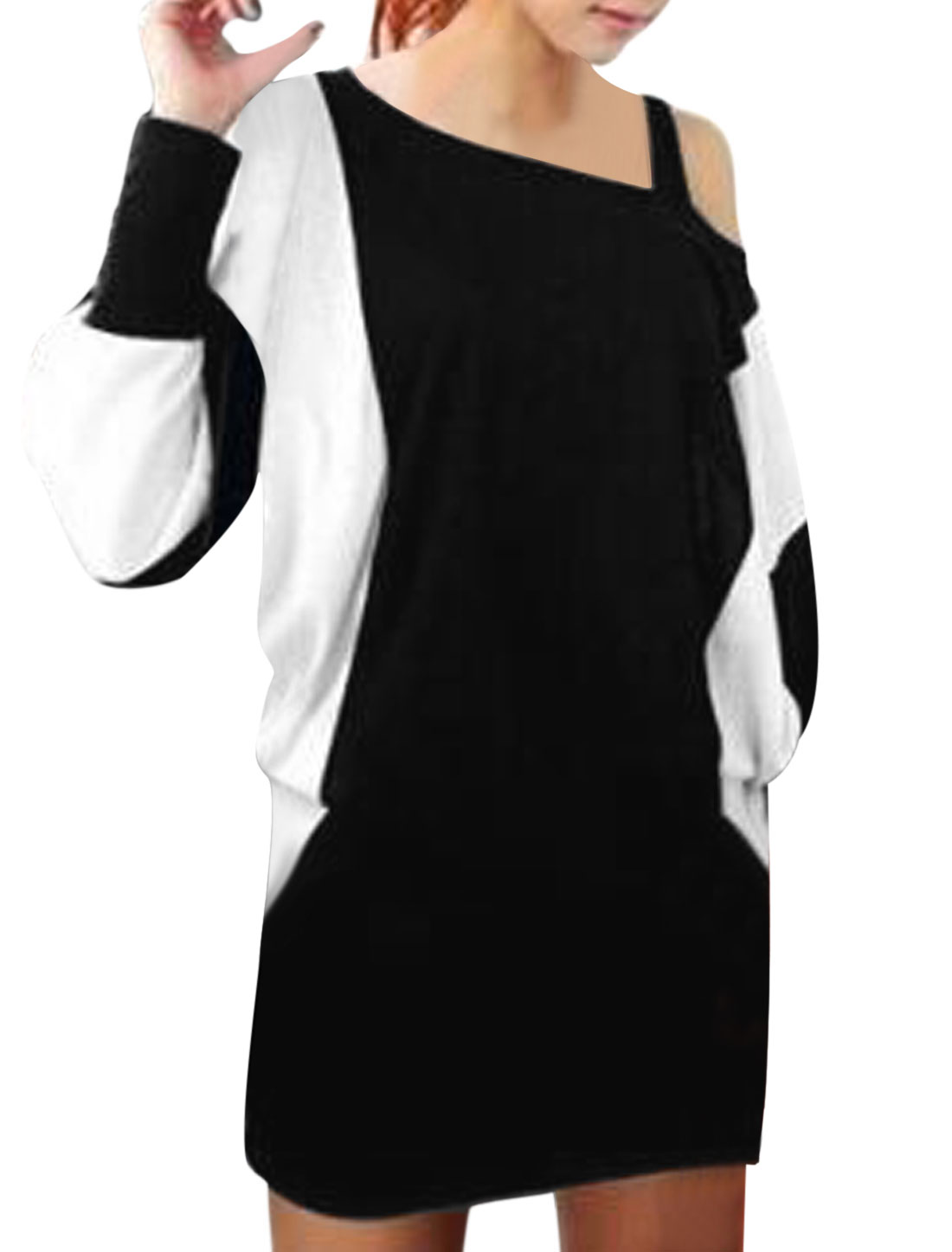 Lady Color Block Batwing Sleeve Over Hip Casual Mini Dress Black White S
