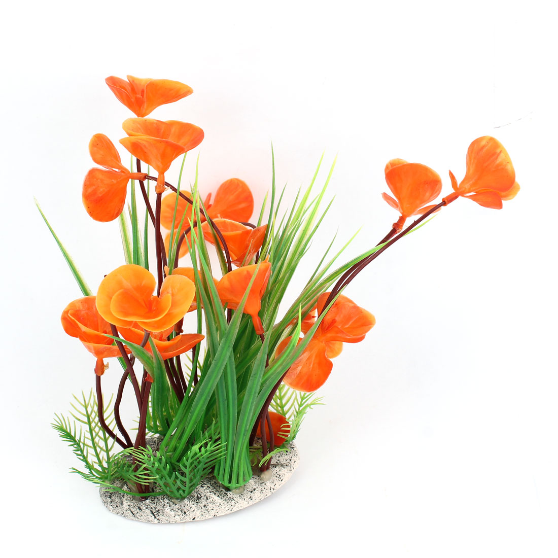 Ceramic Base Orange Flower Green Plastic Plant Grass for Fish Tank