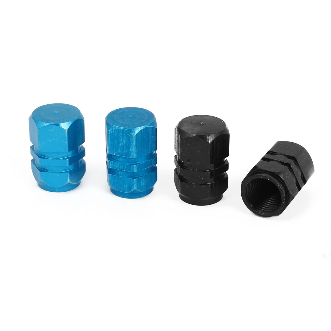 4 Pcs Hexagon Design Tyre Tire Valve Stems Caps Covers Protector Black Blue for Car