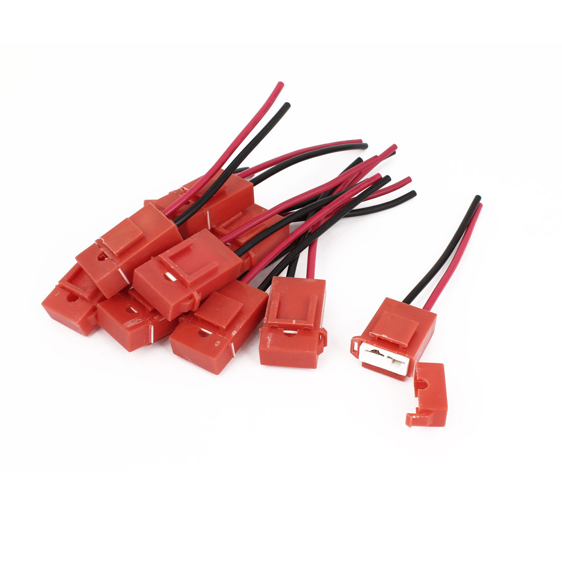 10 Pcs Red Plastic Coated Auto Car ATC Blade Inline Fuse Holder