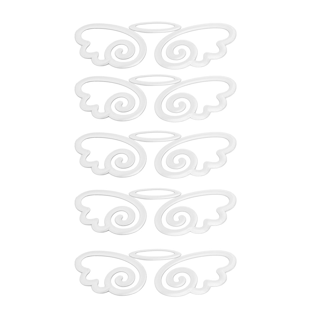 Silver Tone Self-Adhesive Wing Design Car Decal Stickers Ornament 5 Pcs