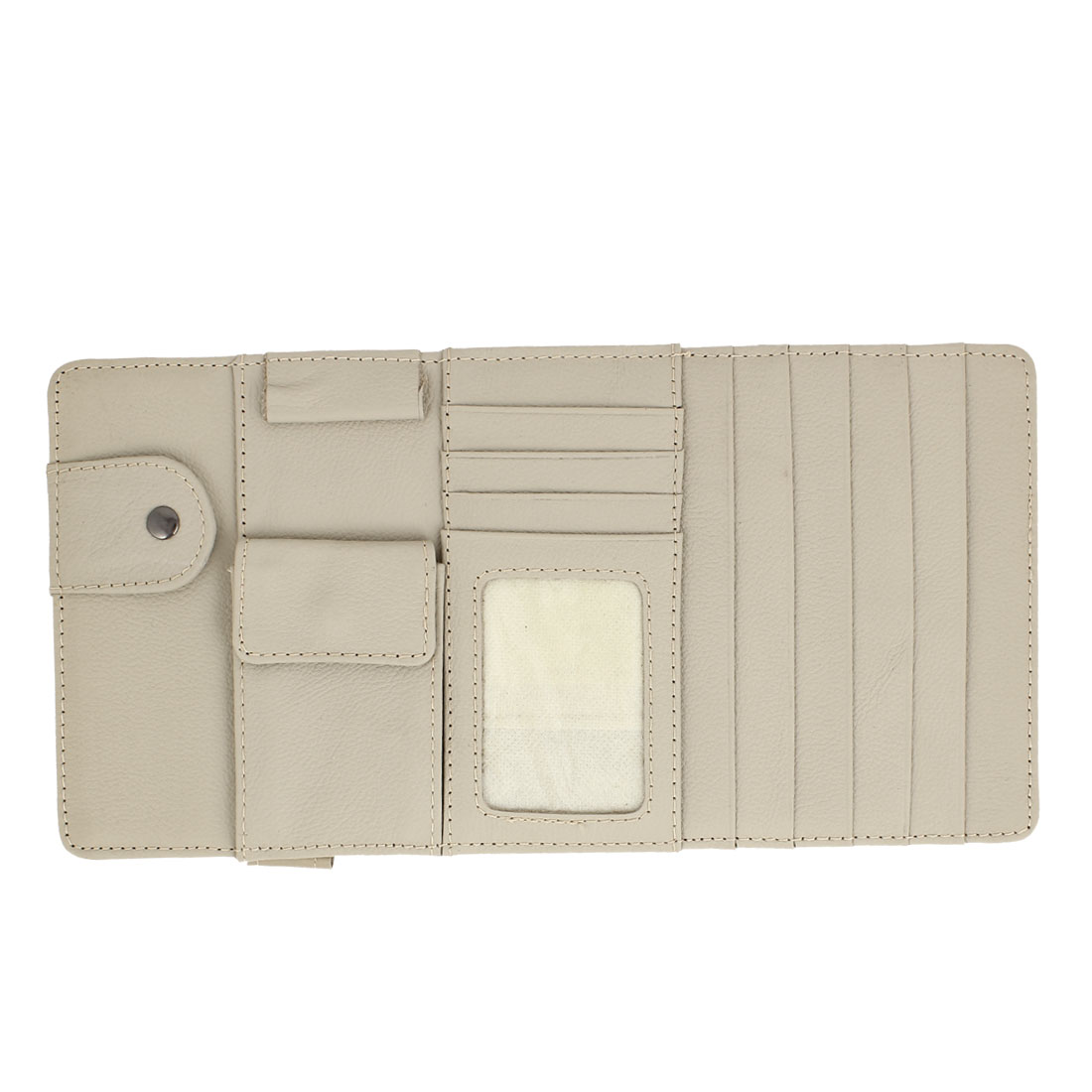 Faux Leather Sun Visor 6 Capacity CD 4 Compartments Card Holder Pocket Case Beige