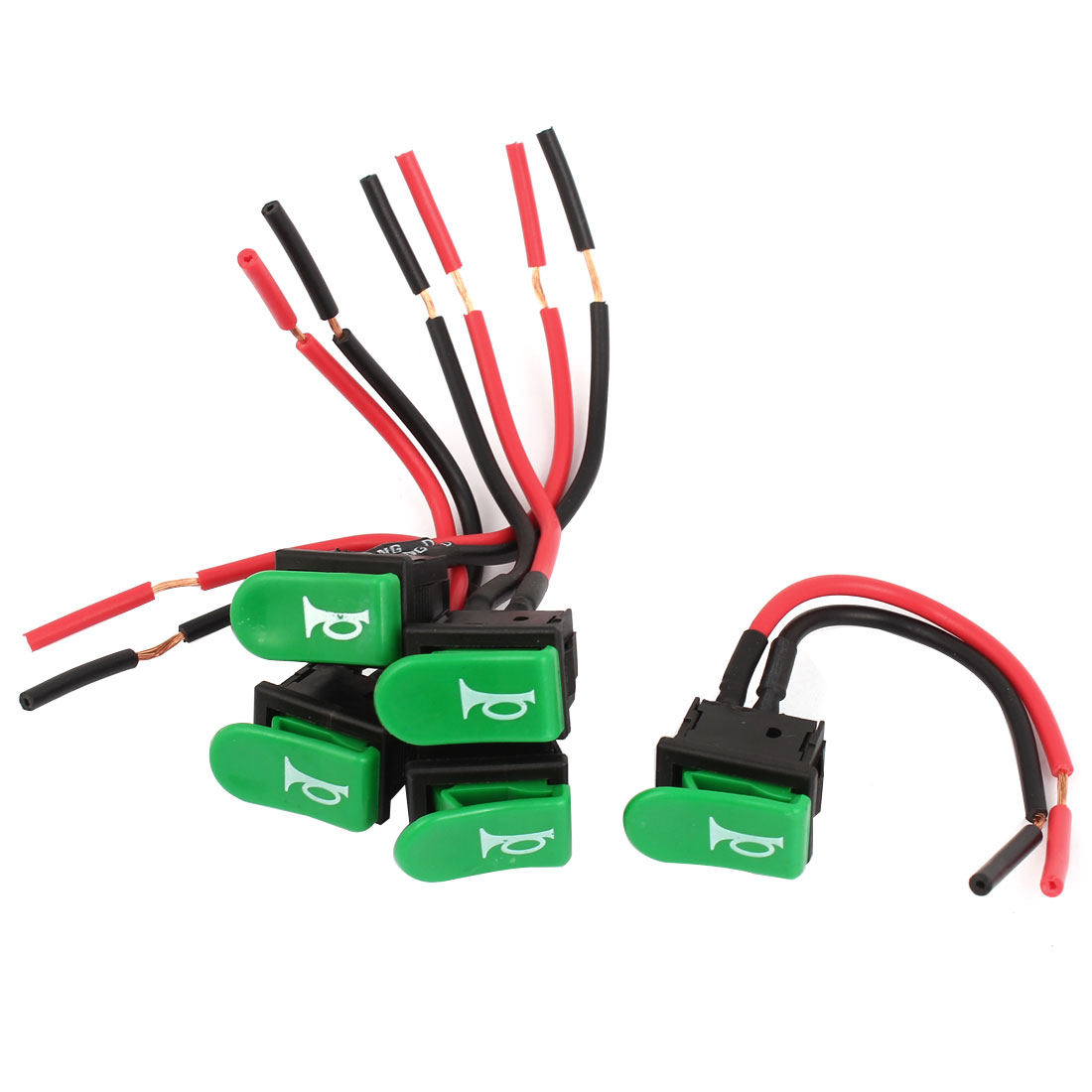 5 Pcs Momentary SPST Green Horn Button Boat Rocker Switches w Leads DC12V